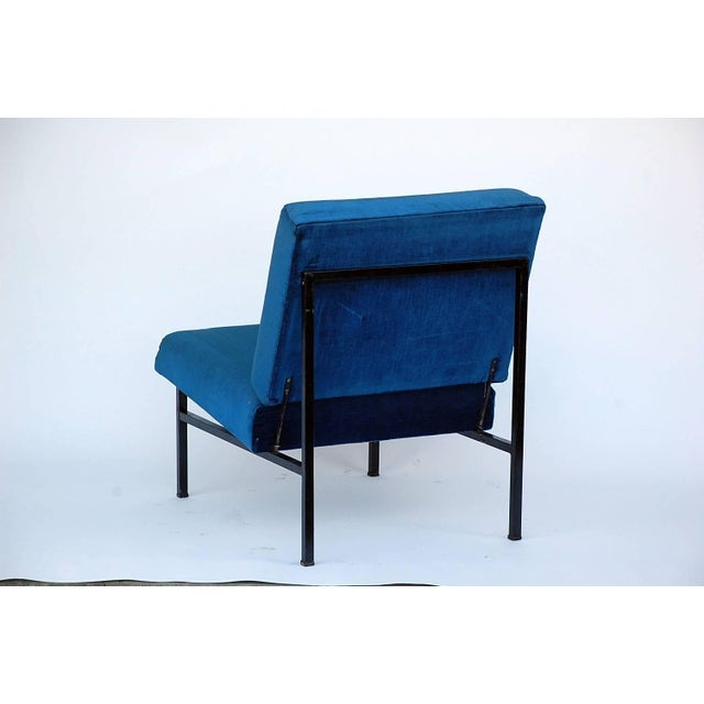 Pair of 'Déclive' Velvet and Blackened Steel Slipper Chairs by Design Frères For Sale In Los Angeles - Image 6 of 9