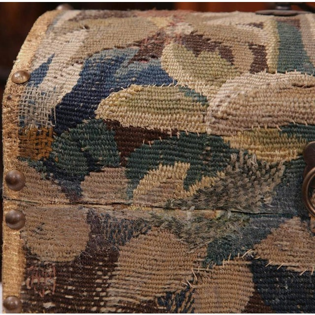 Turquoise Bombe Wood Trunk Covered With 18th Century Aubusson Tapestry and Signed J. Lamy For Sale - Image 8 of 10