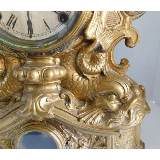 Victorian Gilt Metal Table Clock C. 1870 For Sale - Image 10 of 13