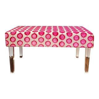 Manuel Canovas Tiana Pink Velvet Acrylic Bench For Sale