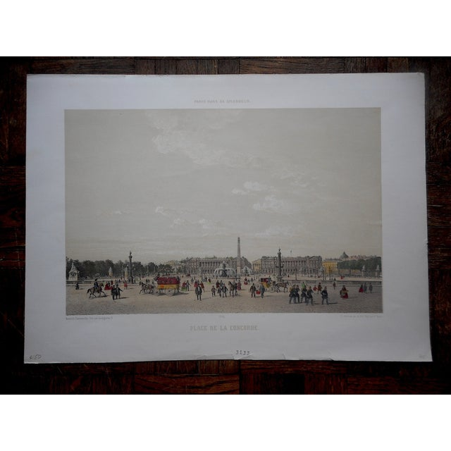 French View of Paris Antique Folio Size Lithograph For Sale - Image 3 of 3