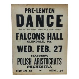 """1930s Vintage """"Polish Aristocrats"""" Pre-Lenten Dance Sign For Sale"""