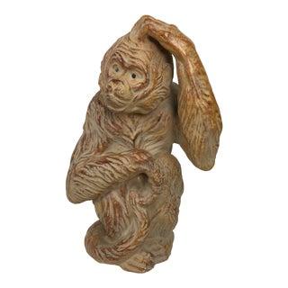 1960s Vintage Italian Pottery Boho Chic Monkey Sculpture For Sale