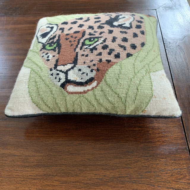 Mid 20th Century Vintage Mid Century Cheetah Needlepoint Pillow For Sale - Image 5 of 8