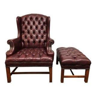 Sam Moore Tufted Wing Chair + Ottoman For Sale