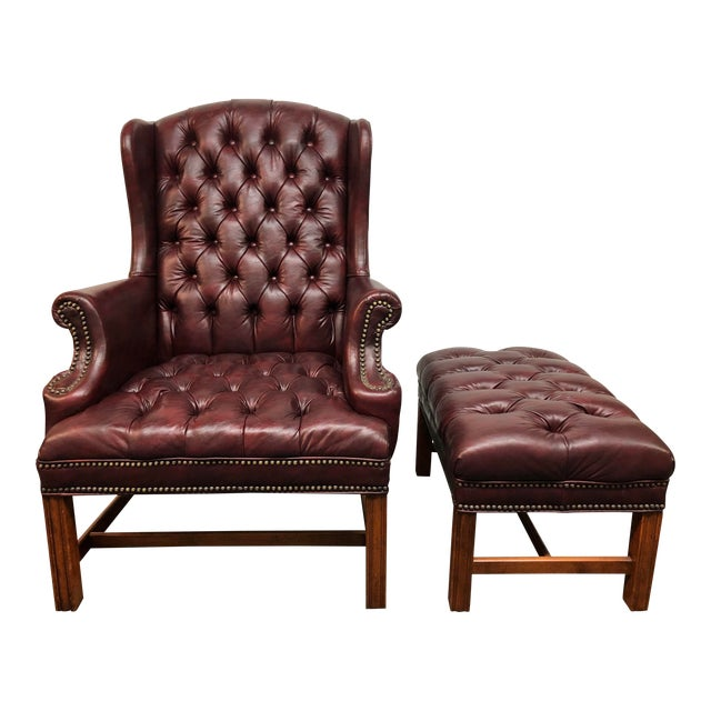 Superb Sam Moore Tufted Wing Chair Ottoman Gmtry Best Dining Table And Chair Ideas Images Gmtryco