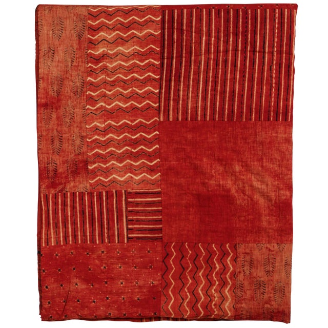 Indian Red Quilted Cotton Bedcover For Sale
