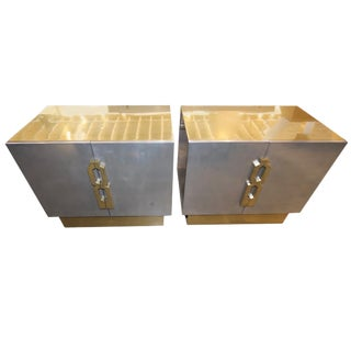 Pair of Geometric Handled Stainless and Brass Nightstands For Sale