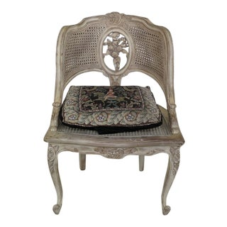French Carved Antiqued White Finish Cane Seat Chair