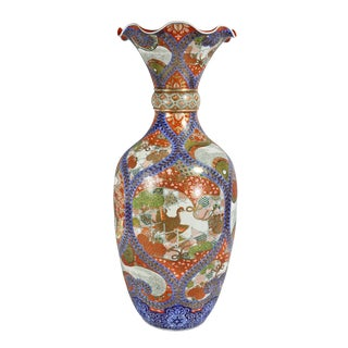 Large Japanese Porcelain Palace Vase For Sale