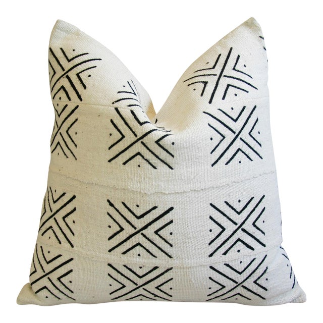 African Mali Mud Cloth Tribal Textile Pillow - Image 1 of 5