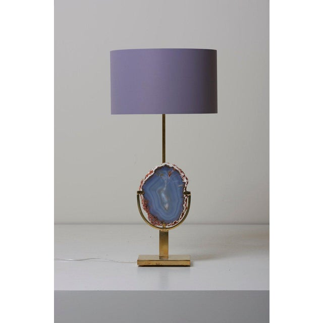 Pair of Stunning Agate Stone and Brass Table Lamps in the Manner of Willy Daro For Sale - Image 9 of 9