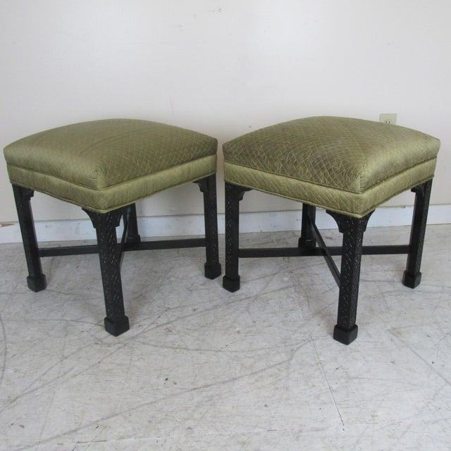 Vintage Chinese Chippendale Style Stools - a Pair For Sale - Image 9 of 9