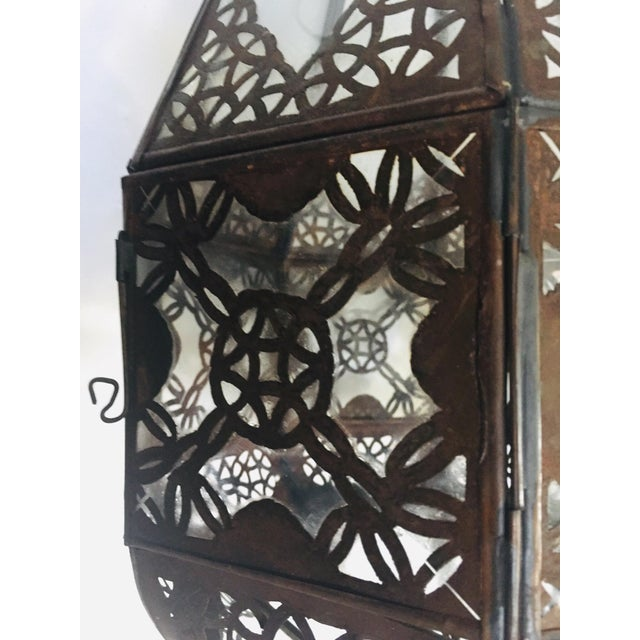 Moroccan Light Fixture in Moorish Design Clear Glass and Metal Filigree For Sale In Los Angeles - Image 6 of 12