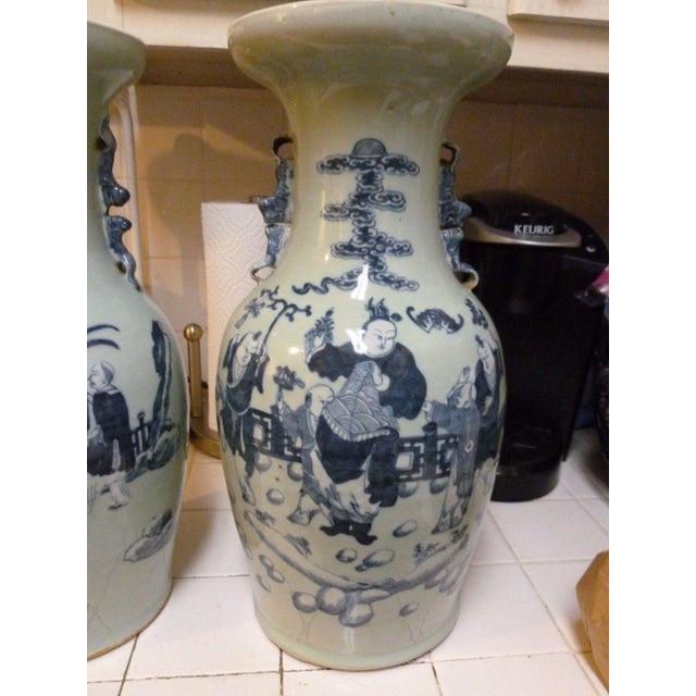 19th Century Qing Chinese Blue & White on Celadon Ground Vases - a Pair For Sale - Image 4 of 13
