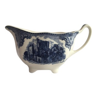 "Johnson Brothers ""Old Britain Castles"" Cream & Navy Blue Pitcher For Sale"