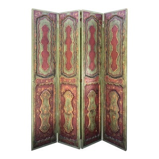 Antique Chinoiserie Decorated Four Panel Room Divider Floor Screen For Sale