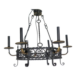 French Wrought Iron 6 Lite Chandelier