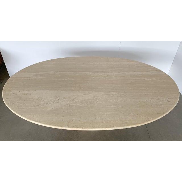 "Carlo Scarpa ""Samo"" Oval Travertine Pedestal Dining Table For Sale - Image 12 of 13"