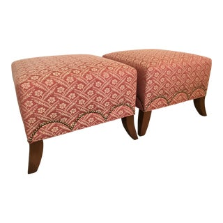 Kravet Red and Gold Pair of Ottomans With Brass Nailhead Trim For Sale