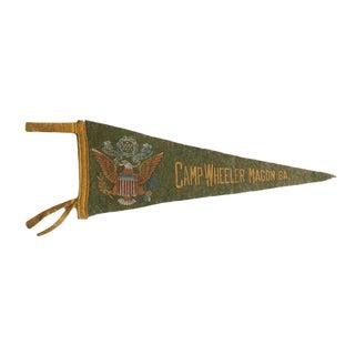 1940s Americana Camp Wheeler Macon Ga. Felt Flag Pennant For Sale