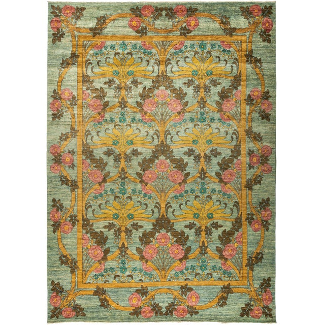 "Contemporary Arts & Crafts Hand-Knotted Rug - 9'10"" x 13'6"" For Sale"