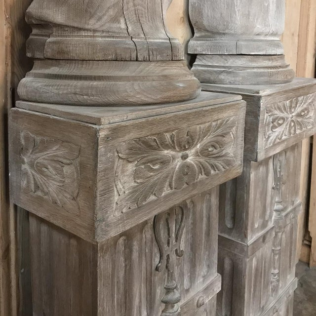 Pair French Architectural Corinthian Weathered Oak Hand Carved Columns For Sale - Image 9 of 13