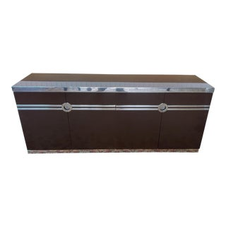 1970s Willy Rizzo for Pierre Cardin Contemporary Lacquered & Chrome Credenza Cabinet For Sale