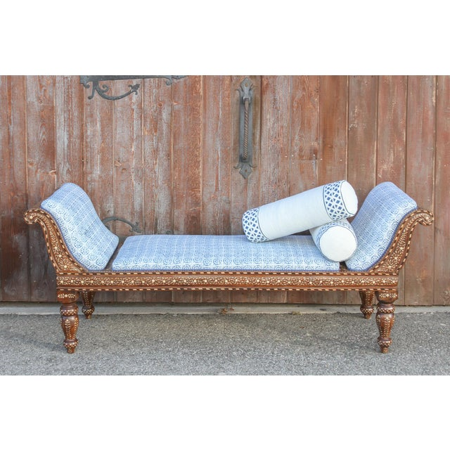 Exclusive Anglo Indian Bone Inlaid Chaise Lounge With Linen Block Print Upholstery For Sale - Image 9 of 13