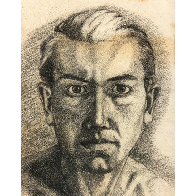 Vintage 1950 French Pencil Portrait Drawing For Sale