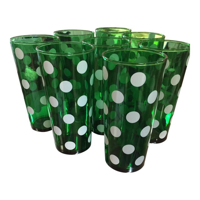 1950's Dark Green Polka Dot 20 oz. Tumblers - Set of 8 - Image 1 of 3