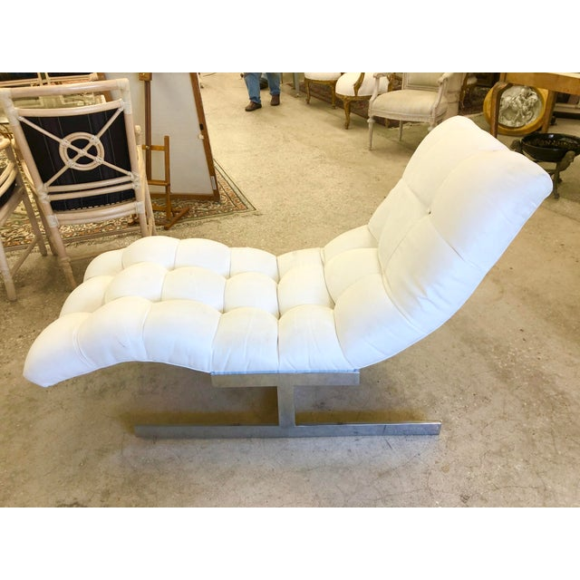 Silver Milo Baughman Flat Bar Wave Chaise Lounge For Sale - Image 8 of 8
