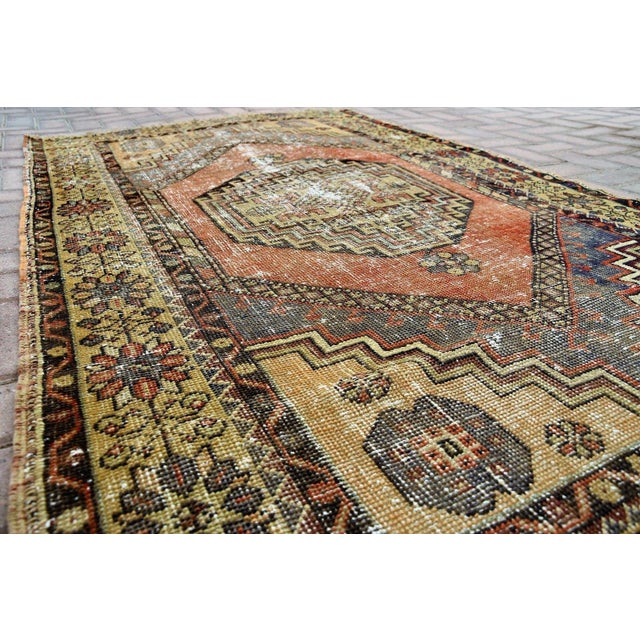 Antique Turkish Handmade Oushak Pile Rug 3′8″ × 5′11″ - Image 4 of 7