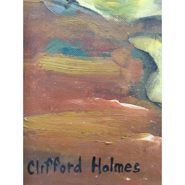 Blue 1950s Clifford Holmes Floral Still Life For Sale - Image 8 of 10