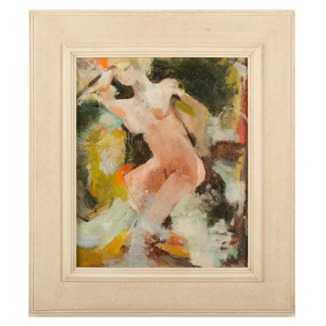 "Mid 20th Century ""Figure in Sea"" Abstract Oil Painting by Belinda Henderson, Framed For Sale - Image 10 of 10"