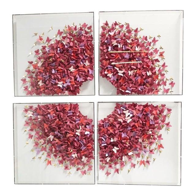 Acrylic Four Panel Butterfly Art by Jen Lin For Sale