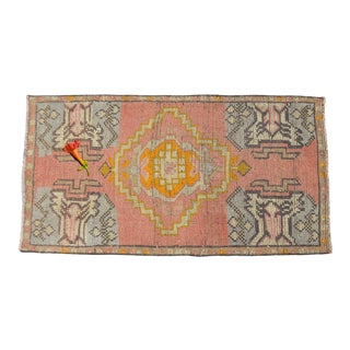 Hand Knotted Low Pile Turkish Small Rug. Distressed Entryway Mat Bath Rug - 19'' X 36'' For Sale