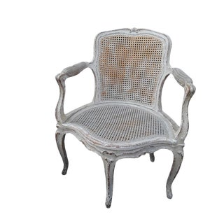 French Caned White Shabby Corner Chair Shabby Gustavian Style Caned Chippy 5 Leg Corner Armchair French Paris Apartment White Caned Fauteuil For Sale