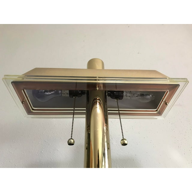 1980s 1980s Modern Brass and Lucite Desk Lamp For Sale - Image 5 of 6