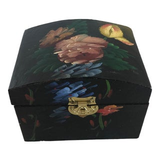Vintage Mid Century Wooden Hand Painted Trinket Box For Sale