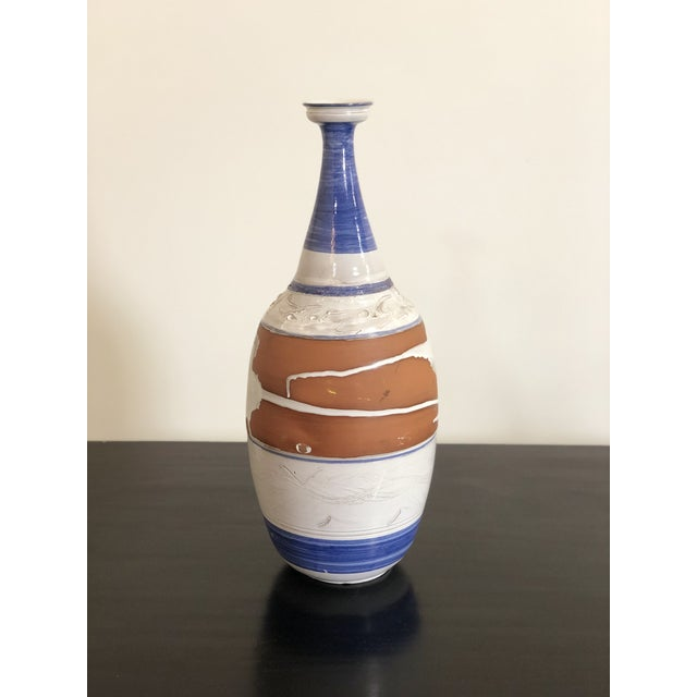 The perfect color palette. Tall vintage Terra Cotta vase with french blue and white glaze. Beautiful for any room!