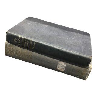 Antique Blue Tone Books - A Pair For Sale