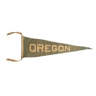 Antique Oregon Felt Flag Pennant For Sale