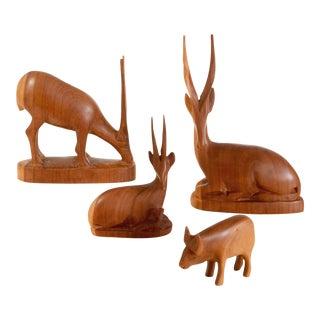 Vintage Teak Safari Animals - Set of 4 For Sale