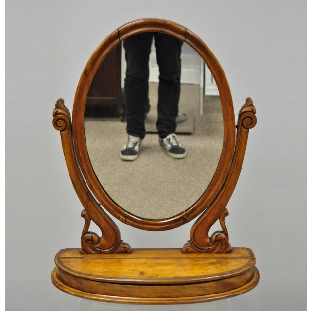 Antique Cheval Style Walnut Oval Mirror Lift Top Shaving Vanity Mirror For Sale - Image 12 of 12