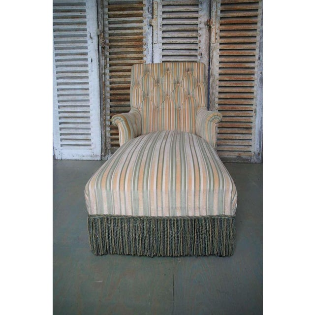 French 19th C. Napoleon III Chaise Lounge in Striped Fabric - Image 6 of 11