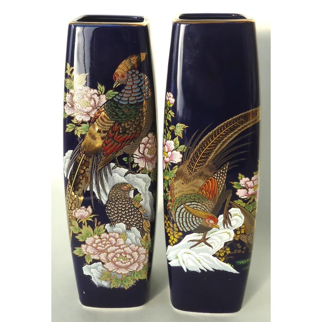 Pheasant Peony Japanese Vases A Pair Chairish