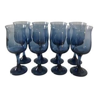 1970s Blue Blown Glass Stemware - Set of 8 For Sale
