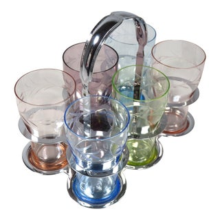 1930s Art Deco Farberware Drinking Glasses & Carrier Set - 7 Piece Set For Sale