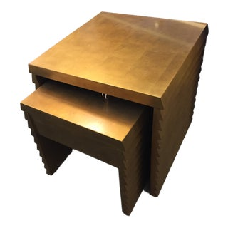 Gold Jet Set Nesting Tables - a Pair For Sale